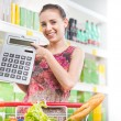 Budget friendly shopping at supermarket — Stock Photo