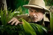 Adventurer peeking through plants — Stock Photo