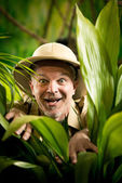 Explorer discovering rainforest jungle — Stock Photo