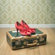 Vintage suitcase and red shoes — Stock Photo