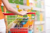 Woman at supermarket with trolley — Stock fotografie