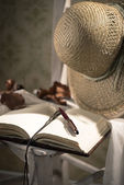 Writer's diary with straw hat — Stock Photo