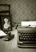 Writing a letter on vintage typewriter — Stock Photo