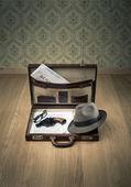 Detective's vintage briefcase — Stock Photo