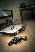 Detective briefcase on the floor — Stok fotoğraf