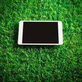 Tablet on artificial grass — Stock Photo