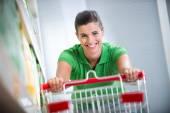 Enjoying shopping at supermarket — Stock Photo