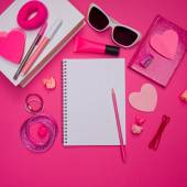 Girly pink desktop and stationery — Stock Photo