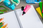Notebook with colorful stationery — Stock Photo