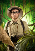 Young adventurer in the jungle — Stock Photo