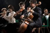 Classical music concert: symphony orchestra on stage — Stock Photo