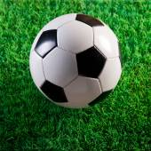 Soccer ball on artificial turf — Stock Photo