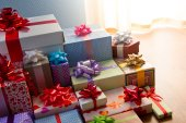 Plenty of colorful presents — Stock Photo