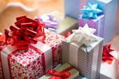 Beautifully wrapped gift boxes — Stock Photo