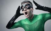 Cool superhero shouting out loud — Stock Photo