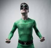 Funny superhero snarling — Stock Photo