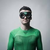 Green superhero — Stock Photo