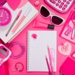 Girly pink desktop and stationery — Stock Photo #54985445