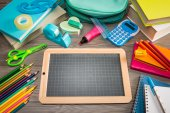 Chalkboard and multicolor stationery — Foto de Stock