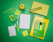Green and yellow stationery — Stock Photo