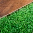 Green lush artificial grass — Stock Photo #54997295
