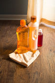 Detergent products for hardwood floor care — Stock Photo