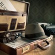 Photoreporter vintage open briefcase — Stock Photo #55003863