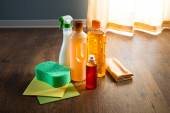 Wood floor cleaner products — Stock Photo