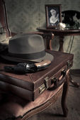 Detective equipment with briefcase — Stock Photo
