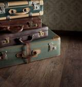 Pile of leather vintage suitcases — Stock Photo