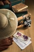 Vintage traveler suitcase — Stock Photo