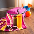 Pink bag and beach plastic toys — Stock Photo #55021939