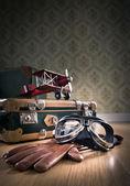 Vintage aviator equipment on floor — Stock Photo