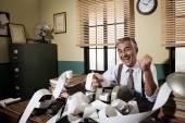Accountant and adding machine paper tape — Stock Photo