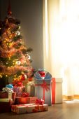 Home interior with christmas tree — Stock Photo
