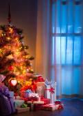 Home interior  Christmas tree — Stock Photo