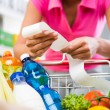 Woman checking grocery receipt — Stock Photo #56618841