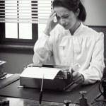 Vintage secretary with headache — Stock Photo #62723793