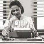 Vintage secretary with headache — Stock Photo #62747201