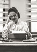 Vintage secretary with headache — Stock Photo