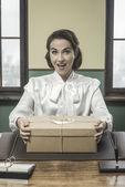 Secretary receiving a surprise — Stock Photo