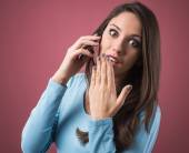 Cute girl on phone — Stock Photo