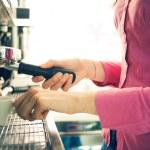 Waitress making coffee — Stock Photo #70652427