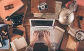 Messy vintage desktop — Stock Photo