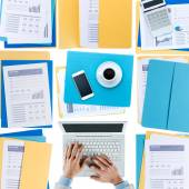 Businessman working at desktop — Stock Photo