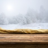 Empty table  on the winter nature — Stock fotografie
