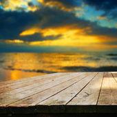 Empty table on the sea — Stockfoto