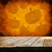 Empty table with Halloween background — Stock Photo