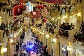 Drawn snowflakes, Christmas decorations and illuminations and wa — Stock Photo