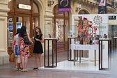 Girls talking near perfume department — Стоковое фото